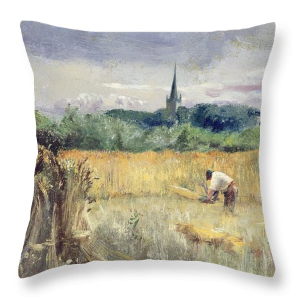 Harvest Field At Stratford Upon Avon Throw Pillow by John William Inchbold