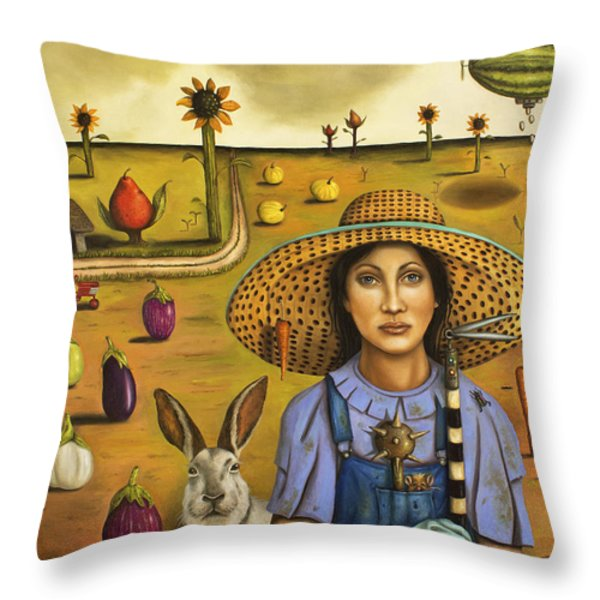 Harvey And The Eccentric Farmer Throw Pillow by Leah Saulnier The Painting Maniac