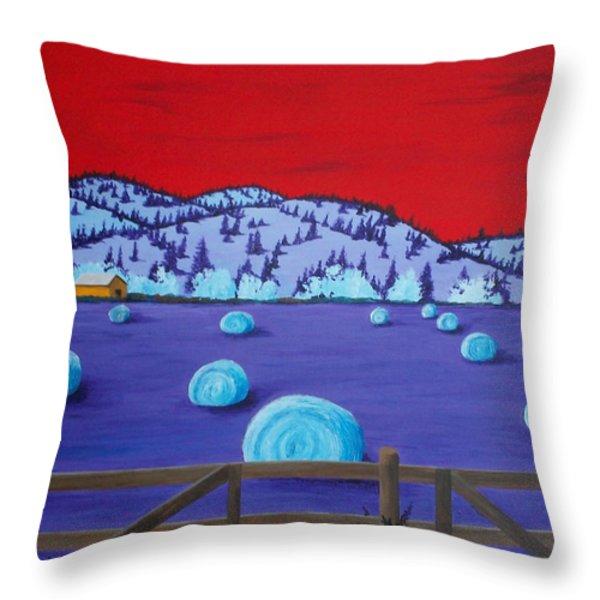 Harveys Hayfield Throw Pillow by Randall Weidner