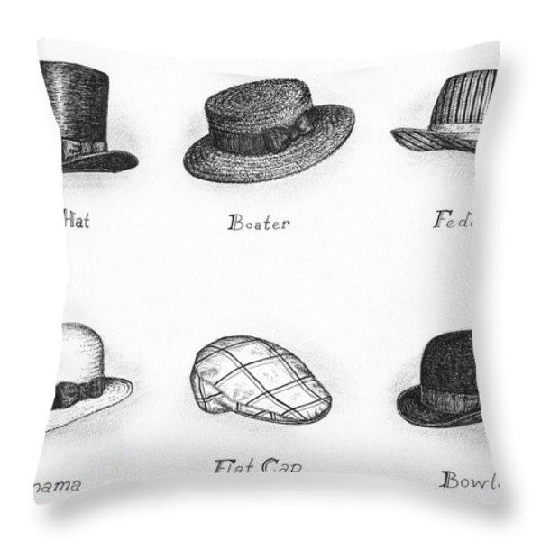 Hats of a Gentleman Throw Pillow by Adam Zebediah Joseph