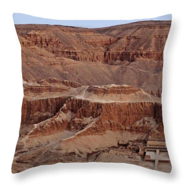 Hatshepsuts Mortuary Temple Throw Pillow by Kenneth Garrett