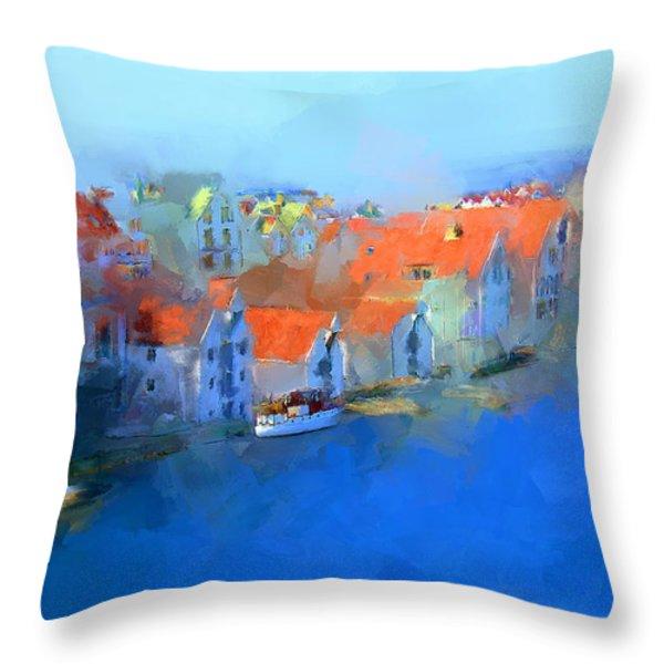 Haugesund Harbour Norway Throw Pillow by Michael Greenaway