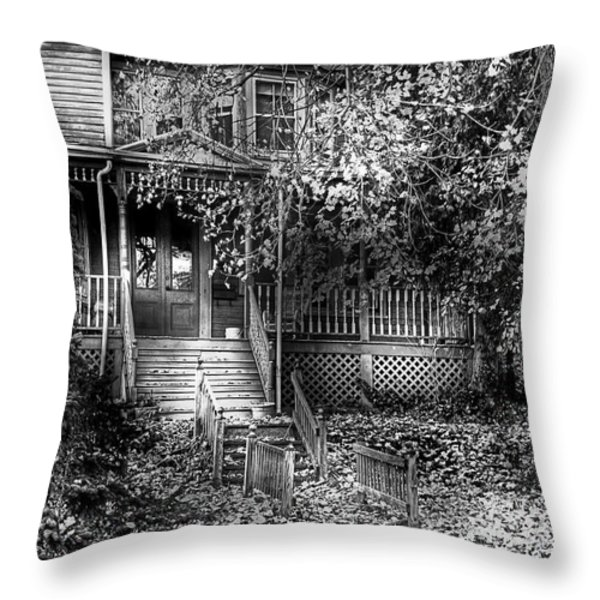 Haunted - Abandoned Throw Pillow by Mike Savad