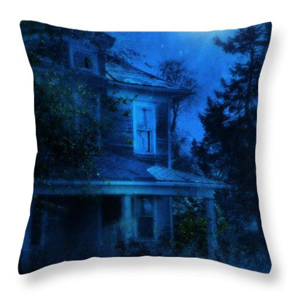 Haunted House Full Moon Throw Pillow by Jill Battaglia