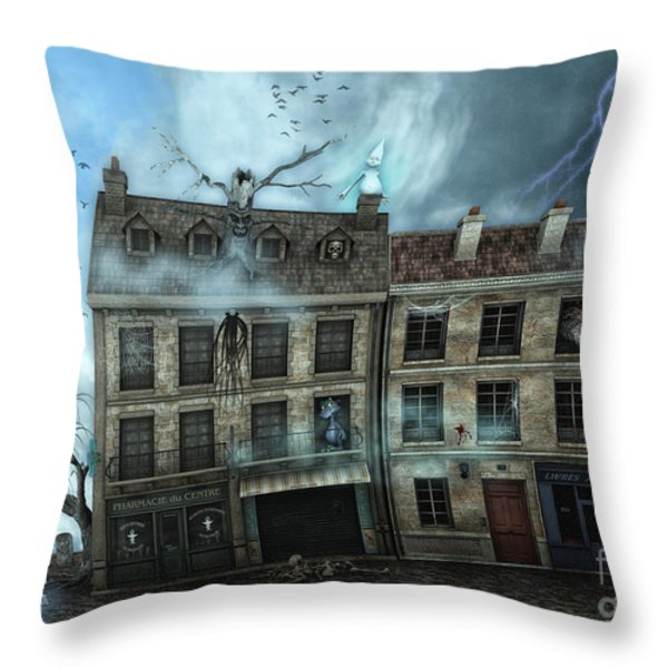 Haunted House Throw Pillow by Jutta Maria Pusl