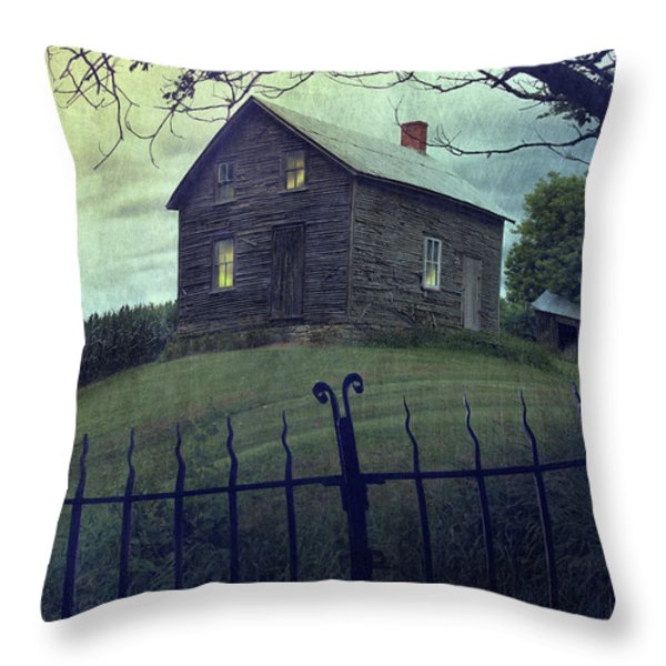 Haunted house on a hill with grunge look Throw Pillow by Sandra Cunningham