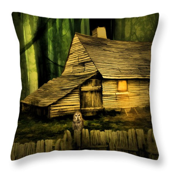 Haunted Shack Throw Pillow by Lourry Legarde