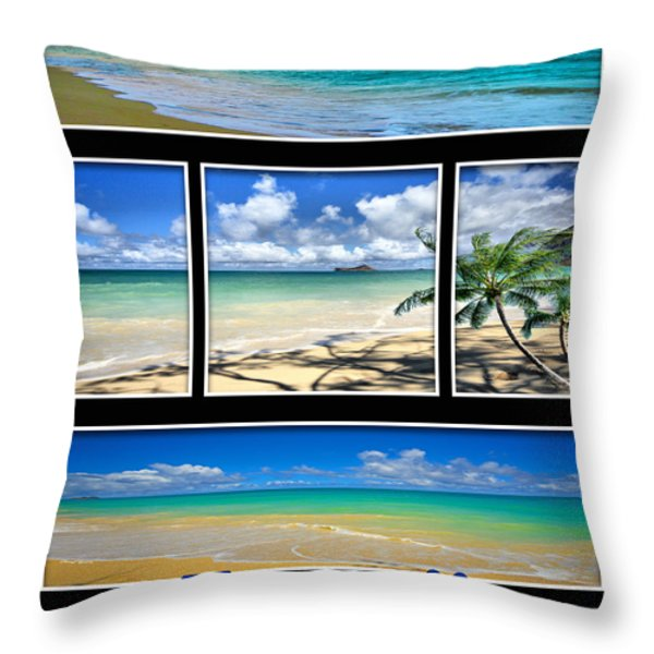 Hawaii Pentaptych Throw Pillow by Cheryl Young
