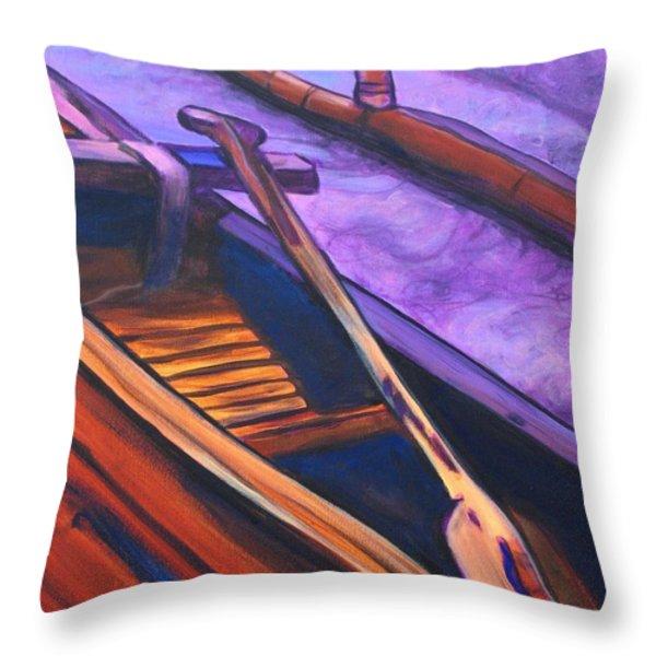 Hawaiian Canoe Throw Pillow by Marionette Taboniar