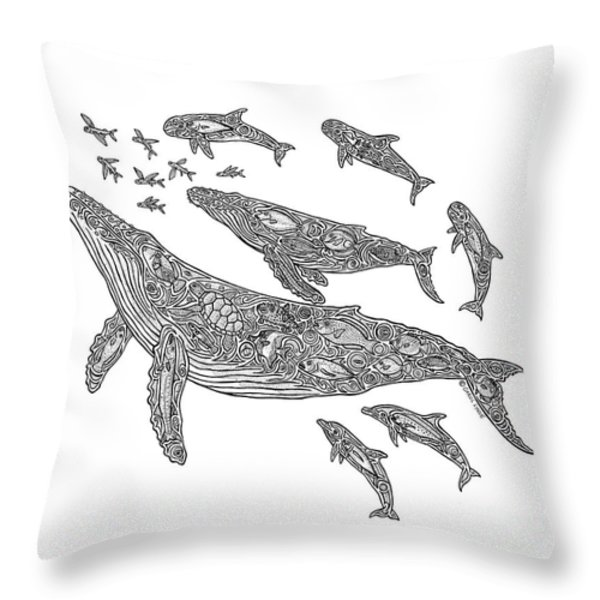 Hawaiian Humpbacks Throw Pillow by Carol Lynne