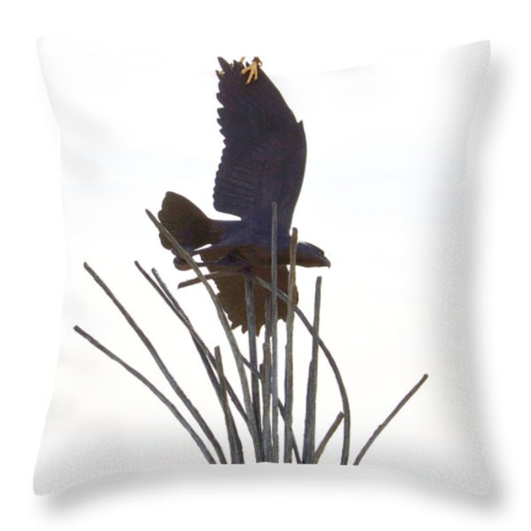 Hawk on statue Throw Pillow by Rebecca Margraf
