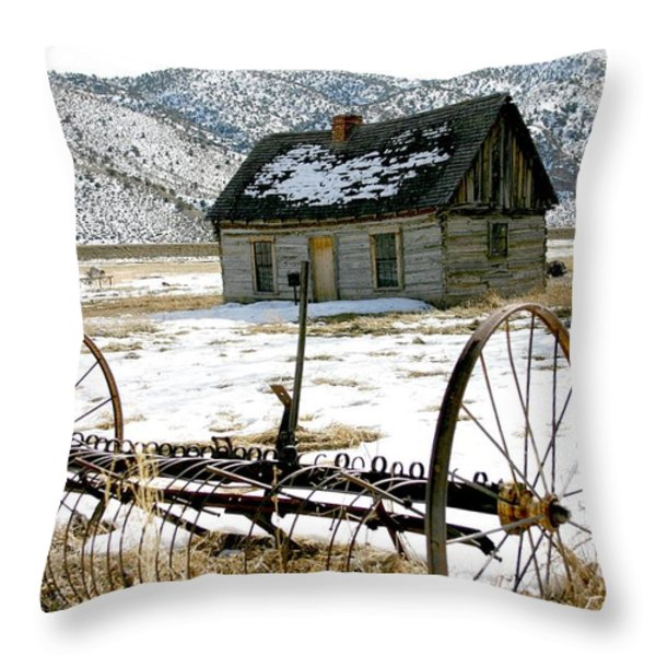 Hay Rake At Butch Cassidy Throw Pillow by Nelson and Cheryl Strong
