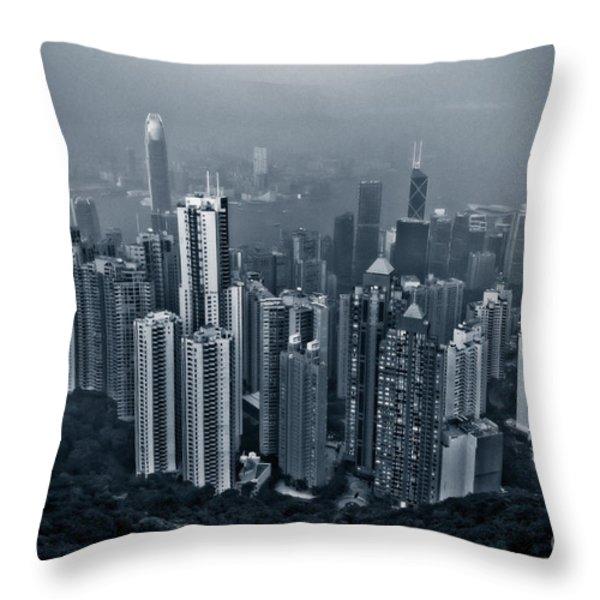 Hazy Hong Kong Throw Pillow by Venetta Archer