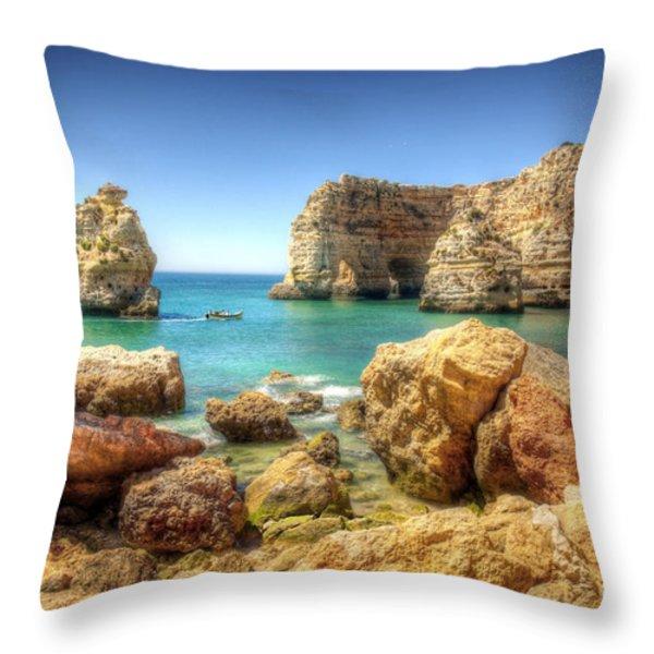 Hdr Rocky Coast Throw Pillow by Carlos Caetano