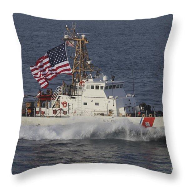 He U.s. Coast Guard Cutter Adak Throw Pillow by Stocktrek Images