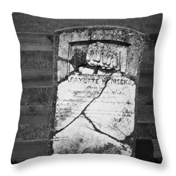 Headstone of Lafayette Meeks Throw Pillow by Teresa Mucha