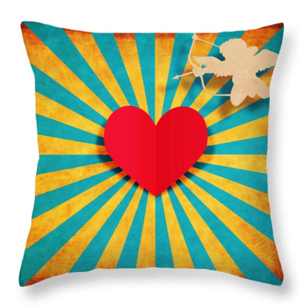 heart and cupid on paper texture Throw Pillow by Setsiri Silapasuwanchai