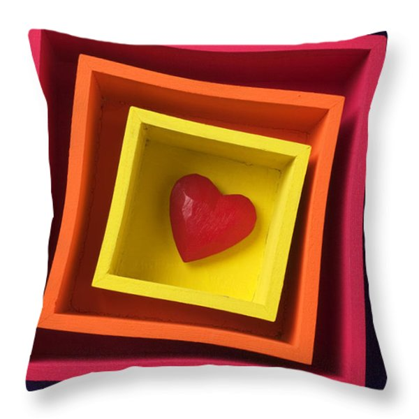 Heart In Boxes  Throw Pillow by Garry Gay