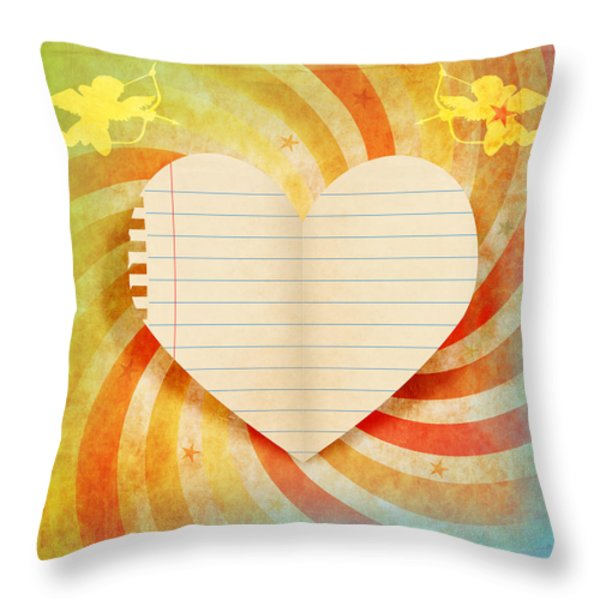 heart paper retro design Throw Pillow by Setsiri Silapasuwanchai