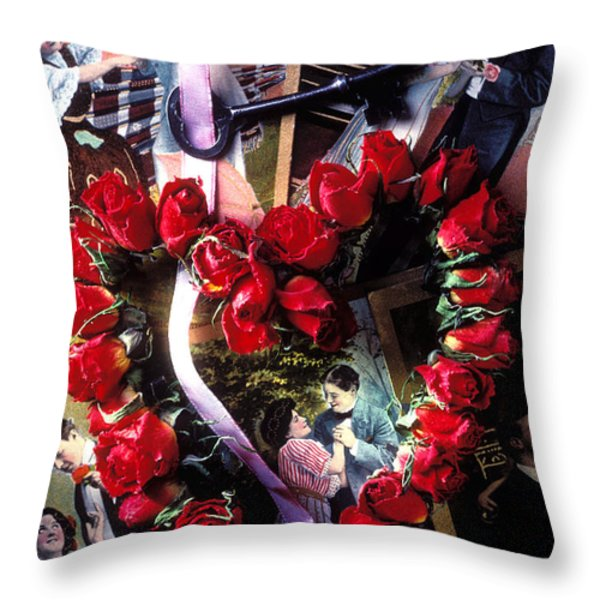 Heart Shaped Roses And Old Postcards Throw Pillow by Garry Gay