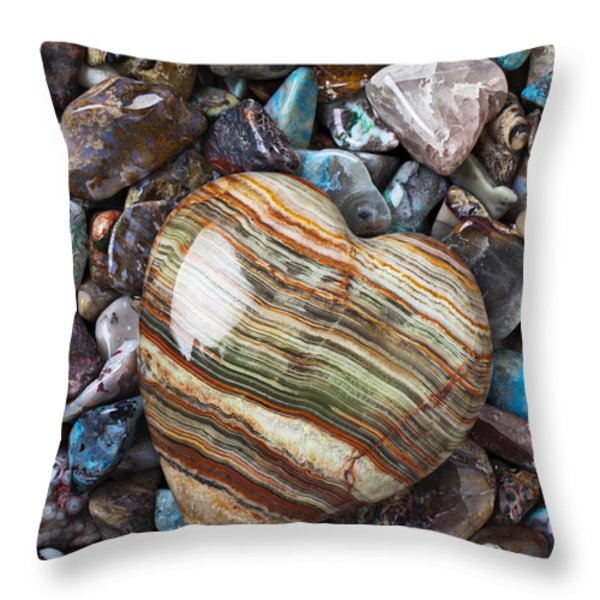 Heart Stone Throw Pillow by Garry Gay