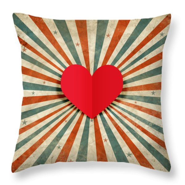 heart with ray background Throw Pillow by Setsiri Silapasuwanchai