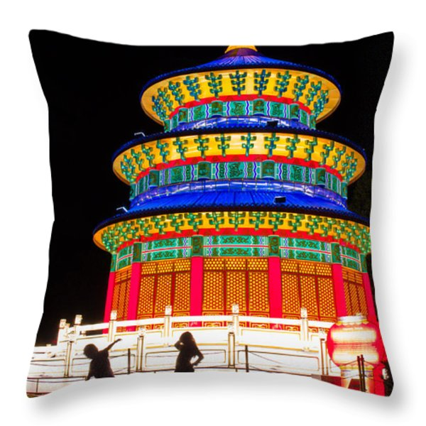 Heavenly Temple Throw Pillow by Semmick Photo