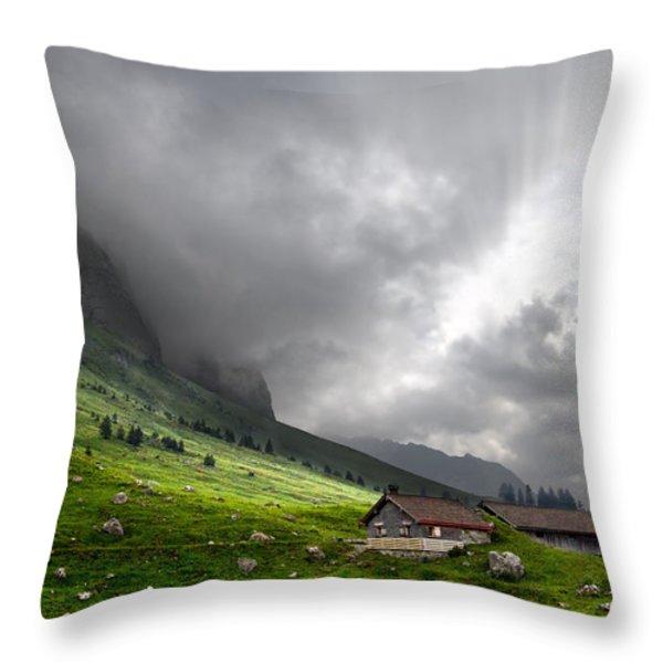 Heaven's Gate Throw Pillow by Debra and Dave Vanderlaan