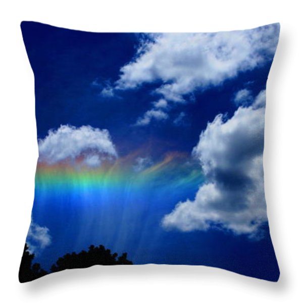 Heavens rainbow Throw Pillow by Linda Sannuti