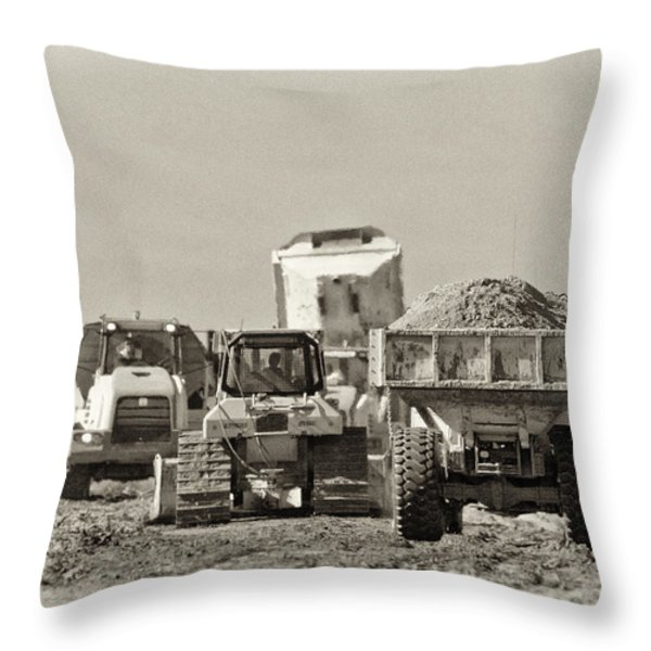 Heavy Equipment Meeting Throw Pillow by Patrick M Lynch