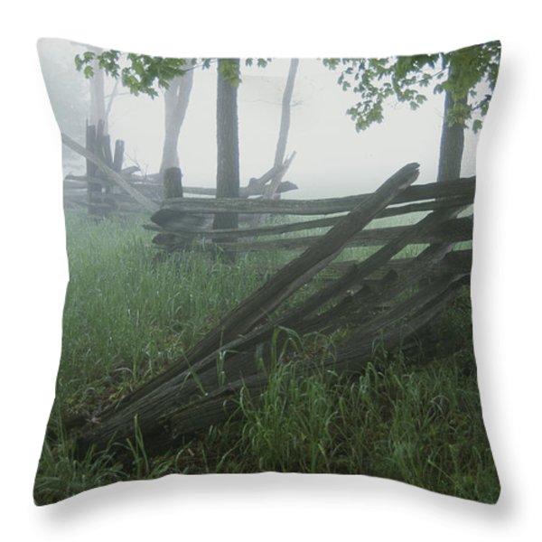 Heavy Fog Hangs Over Split Rail Fences Throw Pillow by Stephen St. John