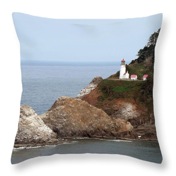 Heceta Head Lighthouse - Oregon's Scenic Pacific Coast Viewpoint Throw Pillow by Christine Till