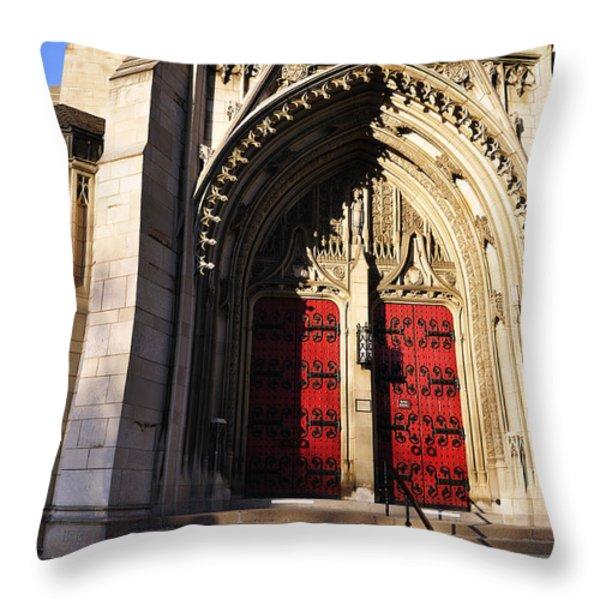 Heinz Chapel Main Entrance Throw Pillow by Thomas R Fletcher