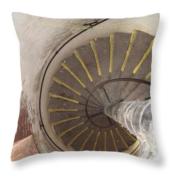 Helical Stairway Throw Pillow by Sonali Gangane