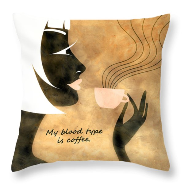 Her Blood Type Throw Pillow by Angelina Vick