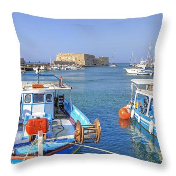 Heraklion - Venetian fortress - Crete Throw Pillow by Joana Kruse