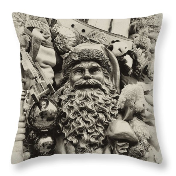 Here Comes Santa Claus Throw Pillow by Bill Cannon