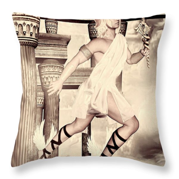 Hermes Throw Pillow by Lourry Legarde
