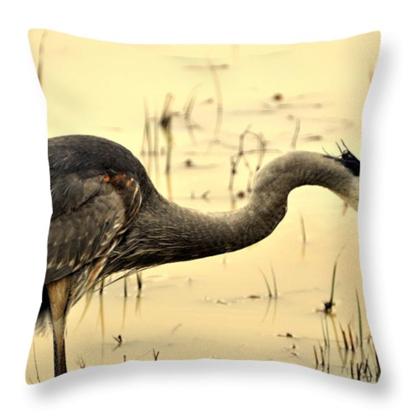 Heron Fishing Throw Pillow by Marty Koch