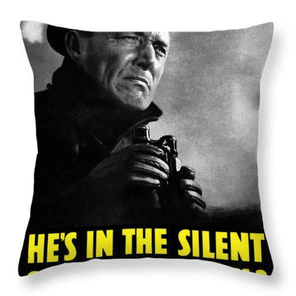 He's In The Silent Service Throw Pillow by War Is Hell Store