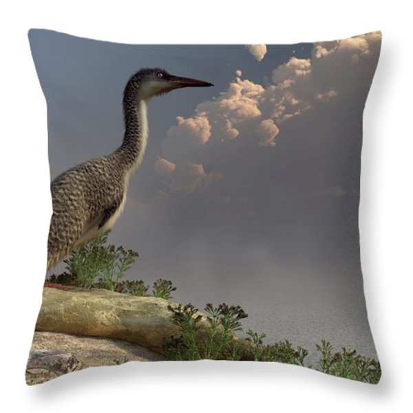Hesperornis by the Sea Throw Pillow by Daniel Eskridge