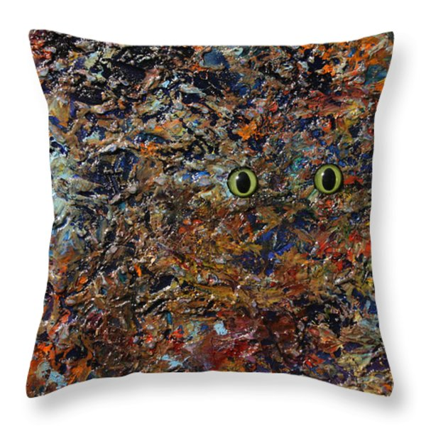 Hiding Throw Pillow by James W Johnson