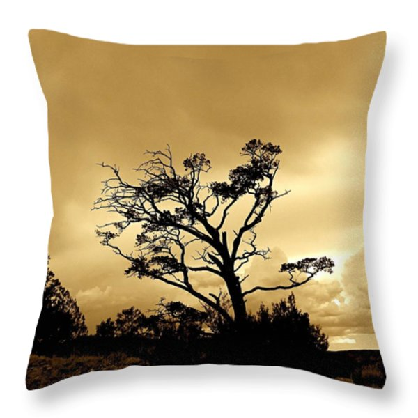 High Country Tree Throw Pillow by FeVa  Fotos