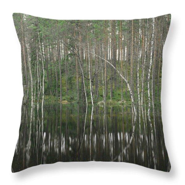 High Waters In A Forest Of Evergreens Throw Pillow by Mattias Klum