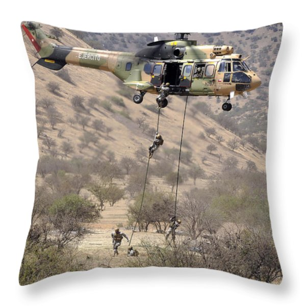 Hilean Special Forces Perform An Air Throw Pillow by Stocktrek Images