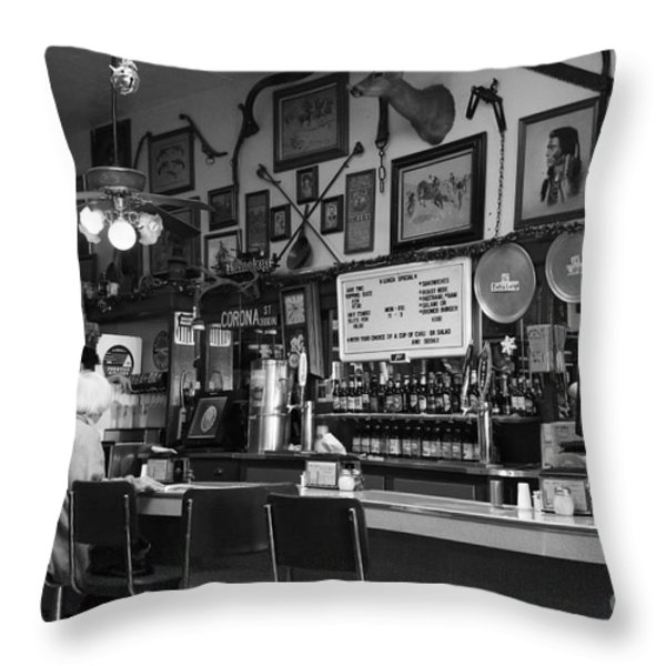 Historic Niles District in California Near Fremont . Bronco Billys Pizza Palace . 7D10707 . bw Throw Pillow by Wingsdomain Art and Photography