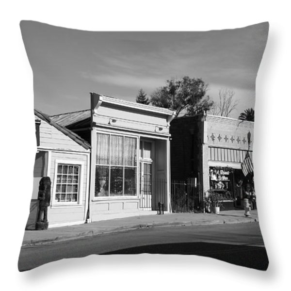 Historic Niles District in California Near Fremont . Main Street . Niles Boulevard . 7D10676  . bw Throw Pillow by Wingsdomain Art and Photography