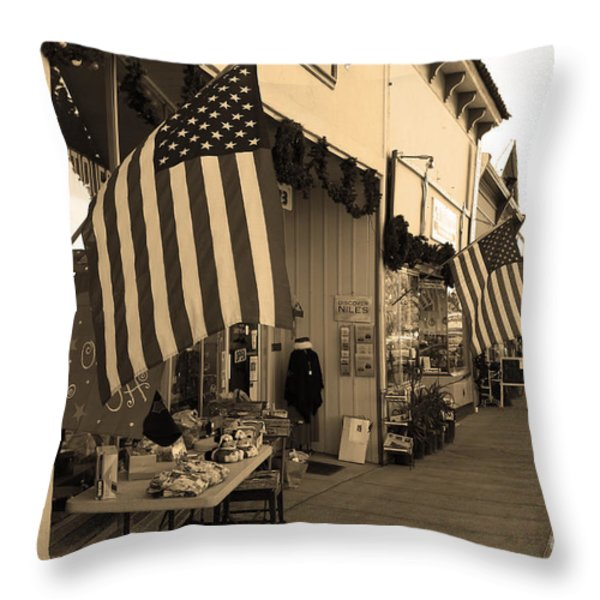Historic Niles District in California Near Fremont . Main Street . Niles Boulevard . 7D10692 . sepia Throw Pillow by Wingsdomain Art and Photography