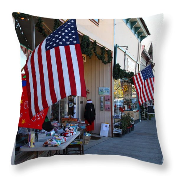 Historic Niles District in California Near Fremont . Main Street . Niles Boulevard . 7D10692 Throw Pillow by Wingsdomain Art and Photography