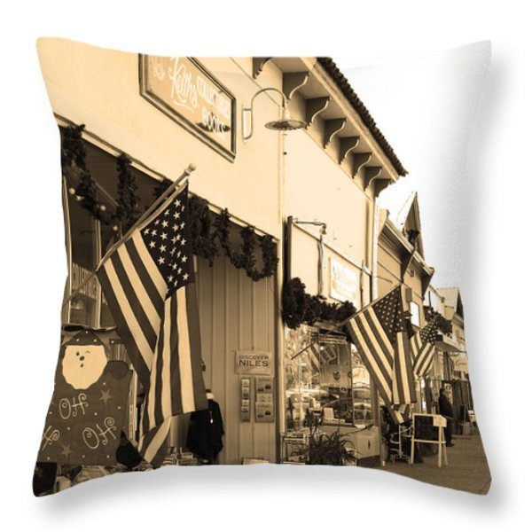 Historic Niles District In California Near Fremont . Main Street . Niles Boulevard . 7d10693 . Sepia Throw Pillow by Wingsdomain Art and Photography